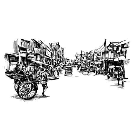 Drawing of city scape in India