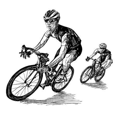 Drawing of the bicycle competition Ilustracja