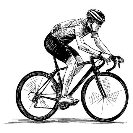 Drawing of the bicycle competition Stock Illustratie