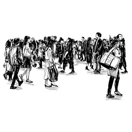Drawing of the people walking on street in Japan Illustration
