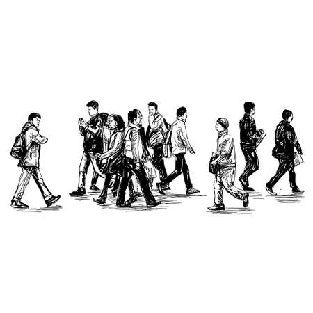 Drawing of the people are walking on street in Japan