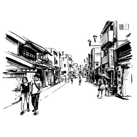 Drawing of the Japan cityscape in Kyoto