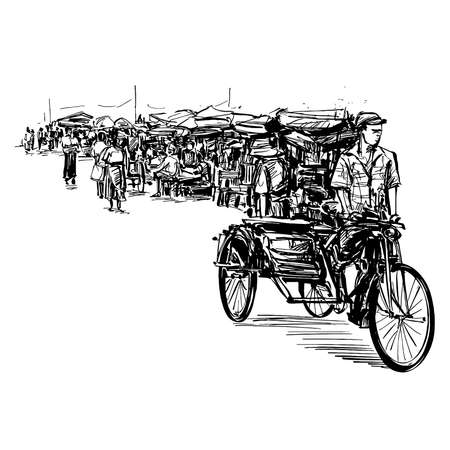 Drawing of the rickshaw at local market in Myanmar