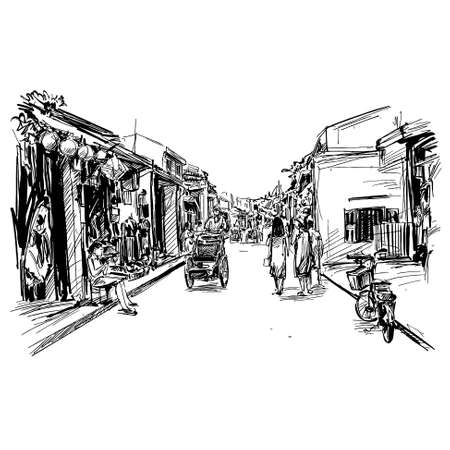 Drawing of the old city Hoi An in Vietnam