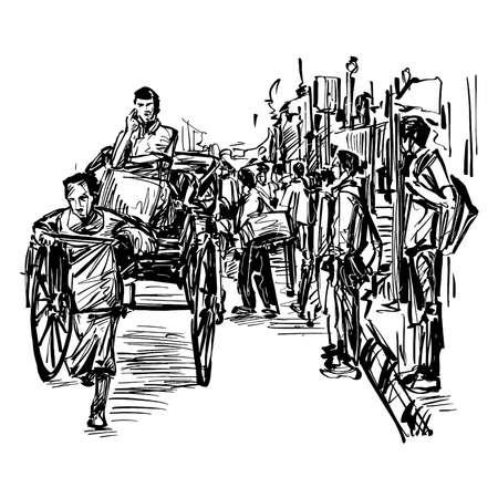 Drawing of the rickshaw traditional transportation in Vietnam