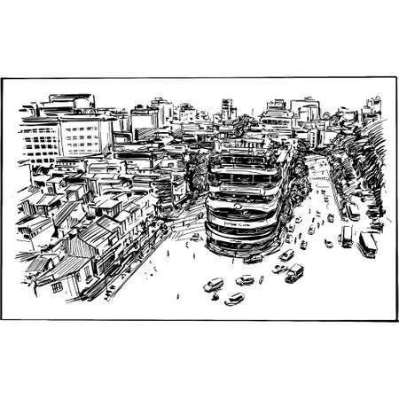 Drawing of the Hanoi cityscape in Vietnam
