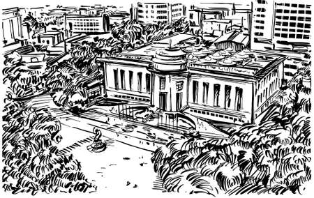 Drawing of the Hanoi opera house in Vietnam Illusztráció