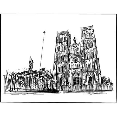 Drawing of the Hanoi church in Vietnam