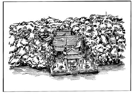 Drawing of the Hanoi temple along the lake in Vietnam