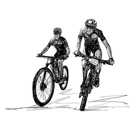 Drawing of the mountain bike competition Banco de Imagens - 152786755
