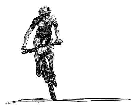Drawing of the mountain bike competition Banco de Imagens - 152786756