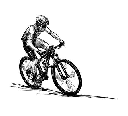 Drawing of the mountain bike competition Banco de Imagens - 152786759