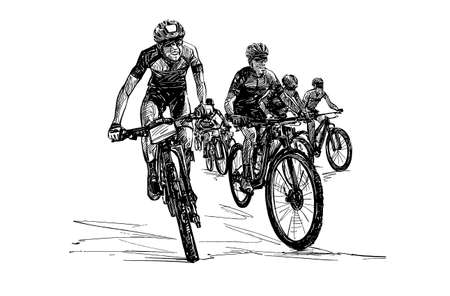 Drawing of the mountain bike competition hand draw Banco de Imagens - 152786761