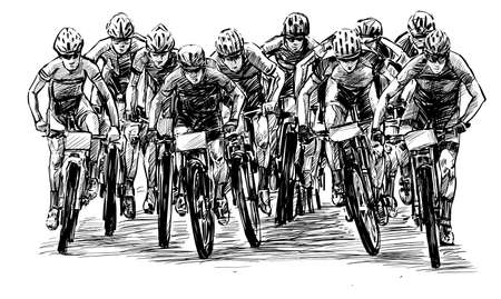 Sketch of mountain bike competition show hand draw
