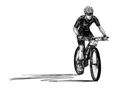 Sketch of bicycle competition hand draw