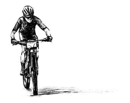 Drawing of the bicycle competition hand draw