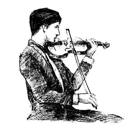 Drawing of the classical musician plays instrument hand draw Vektoros illusztráció