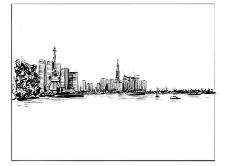 Drawing of the cityscape in Ho Chi Minh city Vietnam
