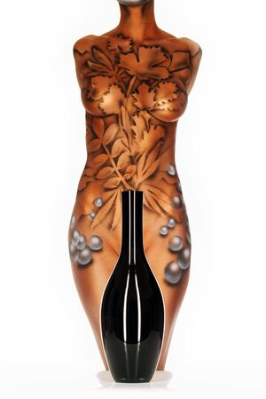 body-painting, woman standing behind a black vase Stock Photo - 699640