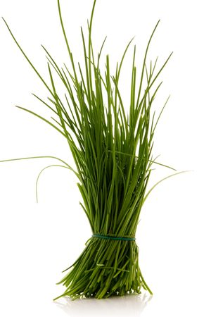 chives: bunch of chives over white background
