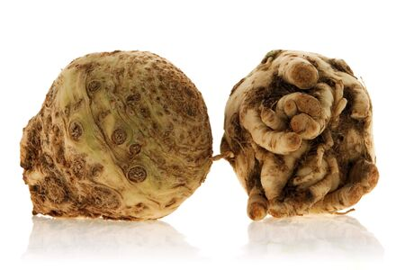 celery root: fresh celery root isolated over white background Stock Photo