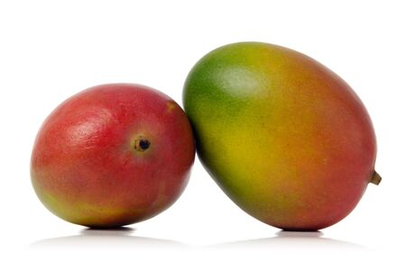 two colorful mangos isolated over white background photo