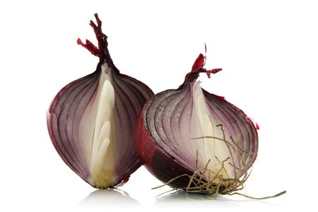 red onion sliced over white background photo