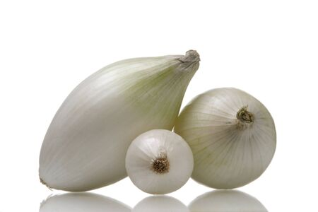 white onions isolated over white background photo