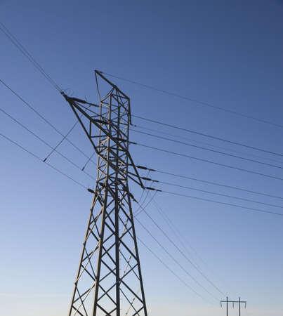 Power Pylon against the blue sky. Denmark