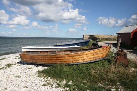 jutland: Small Boats at the Coast. Shot taken at the coast at Fornaes near Ebeltoft, Denmark