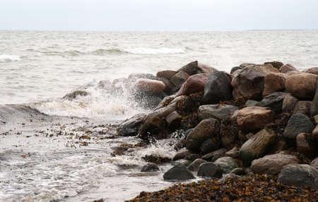 groyne: The Groyne. Shot taken at the Beach near the small harbour Hou, Denmark Stock Photo