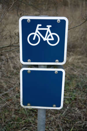 Blue Bicycle Sign with plate for text