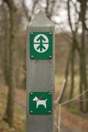 Dog sign in a forest near Skanderborg, Denmark
