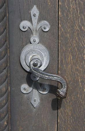 Door Handle With Fleur De Lis On A Church Door Stock Photo   4062348