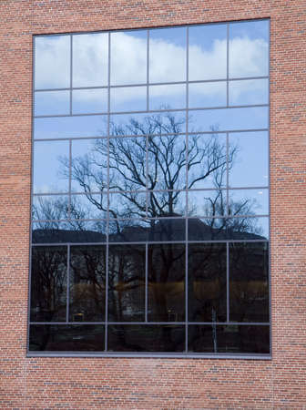 Reflections in a window in a modern building in Aarhus, Denmark. Can be used as background Stock Photo - 4118878