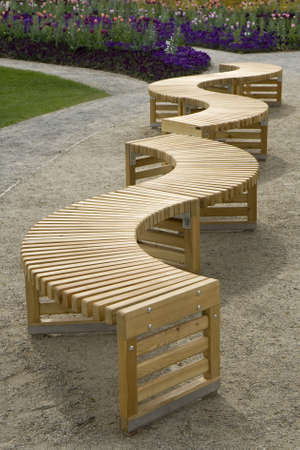 Curvy benches in at park at Schwerin, Germany Stock Photo