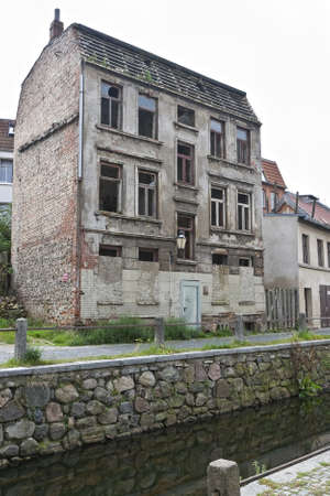 canal house: Abandoned house in the old part of Wismar, Germany