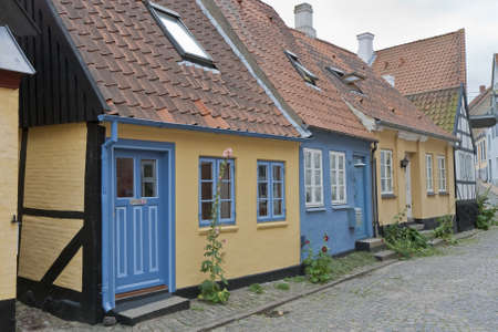 Small houses in an old street in Sonderborg, Denmark photo