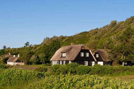 thatched roof: Holiday homes with thatched roof at a hill near Ebeltoft, Denmark Stock Photo