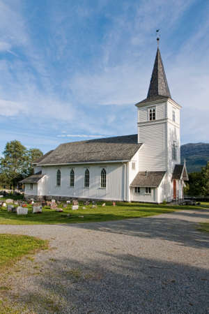 The white wooden church at Hemsedalen, Norway