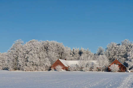 Farmhouse in the snow on a cleat winter day photo