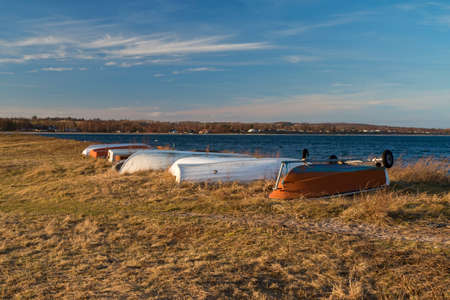 dinghies: Dinghies at the beach. Shot from an inlet near Aarhus, Denmark Stock Photo