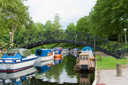 motor boats: Motor boats in a canal at Silkeborg, Denmark. Copy space