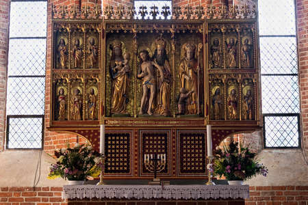 altarpiece: Closeup on altarpiece. Shot from a church in the southern part of Denmark