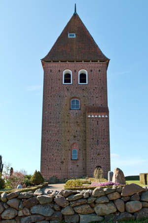 ry: Closeup on the church tower at Gammel Ry, Denmark Stock Photo