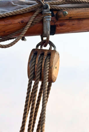 pulley: Closeup on a pulley on a sailboat Stock Photo