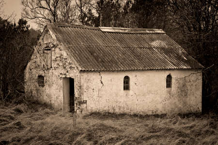 Black And White Shot Of An Old Barn In A Forest Stock Photo