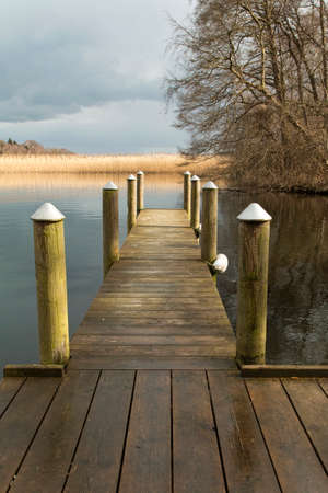 landing stage: Small landing stage at the river Gudenaa, Denmark