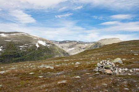ノルウェーのソグネ ・ フィヨルドで山地の岩