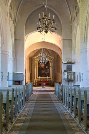 Inside a small church in Faaborg, Denmark Foto de archivo - 95652985
